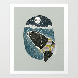 Whale and the Moon Art Print