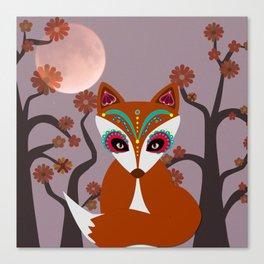Autumn Sugar Skull Fox Canvas Print