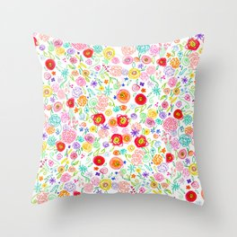 Colorful Floral Doodle Pattern in Bright Multicolor Throw Pillow
