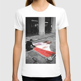 Street Art in Bologna Black and White Photography Color T-shirt