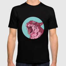 Magenta tiger LARGE Mens Fitted Tee Black