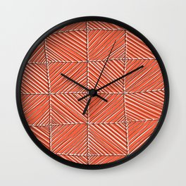 Red diagonals pattern Wall Clock