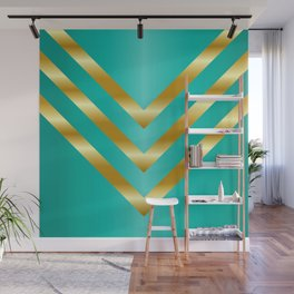 Gold strips on royal green gradient Wall Mural
