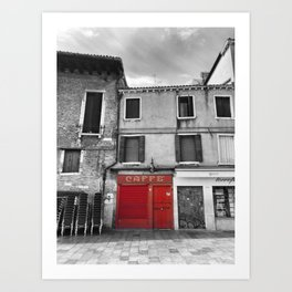 Red Caffe in Venice Black and White Photography Art Print