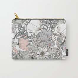 Farmhouse Chic Blush Pink and Grey Floral Pattern Carry-All Pouch