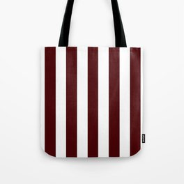 Dark chocolate purple - solid color - white vertical lines pattern Tote Bag