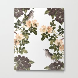 Blackberry Spring Garden - Birds and Bees Cream Flowers Metal Print
