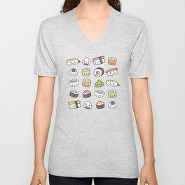 Happy kawaii sushi pattern Unisex V-Neck