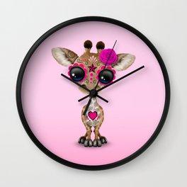 Pink Day of the Dead Sugar Skull Baby Giraffe Wall Clock