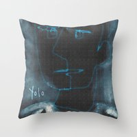 yolo Throw Pillows featuring YOLO by Osome Beamer