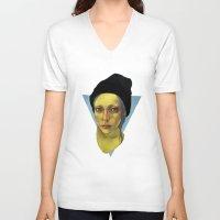 hat V-neck T-shirts featuring Black Hat by nijikon
