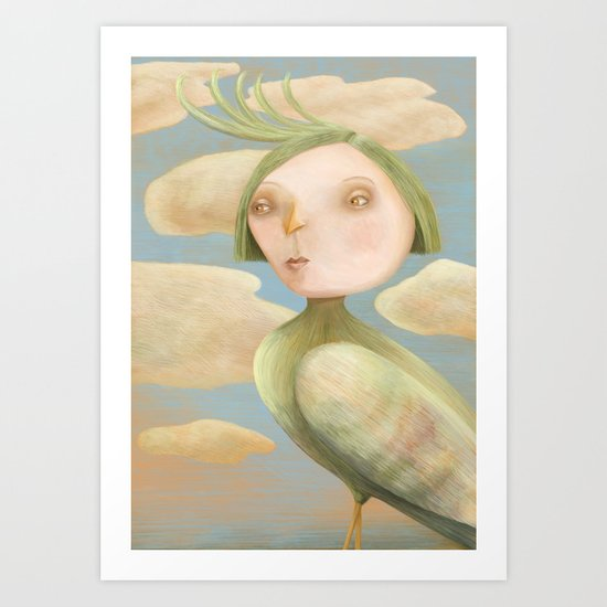 Green Crested Ladytoo Art Print