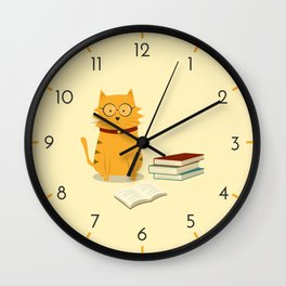 Nerdy Cat Wall Clock