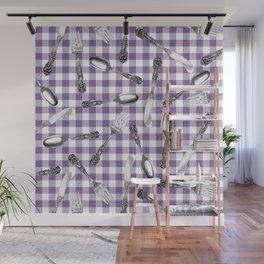Utensils on Violet Picnic Blanket Wall Mural