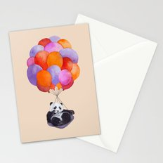 Panda flying with balloons Stationery Cards