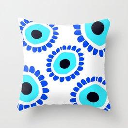 Scalloped Edge Greek Eye Symbol Throw Pillow