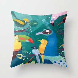 Colorful Birds in the Jungle Throw Pillow