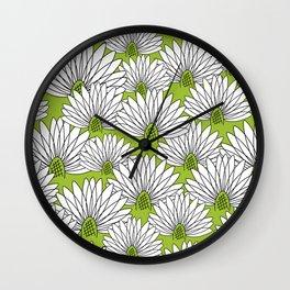 flowers on greenery Wall Clock
