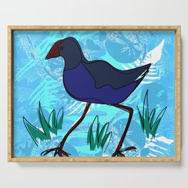 New Zealand Pukeko in blue Serving Tray