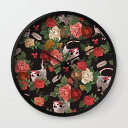 Opossum Floral Pattern (with text) Wall Clock