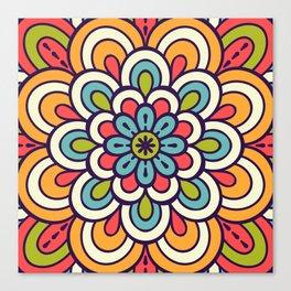 Mandala, Colorful Abstract Flower Canvas Print