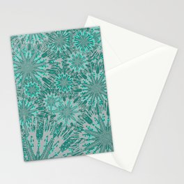 Teal & Aqua Floral Fireworks Abstract Stationery Cards