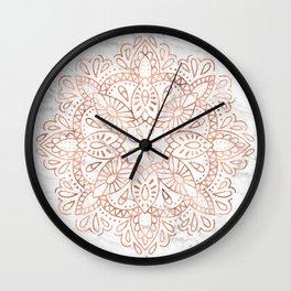 Rose Gold Mandala on Marble Wall Clock