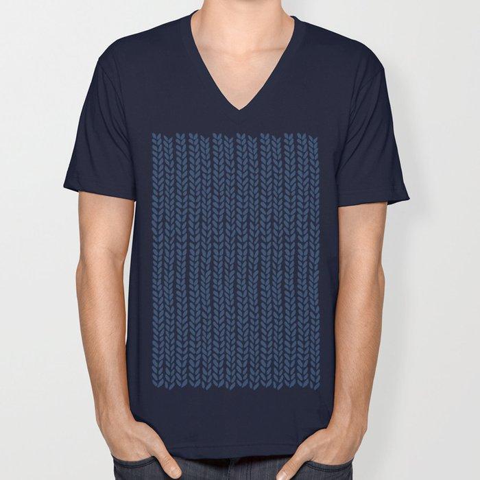 Knit Wave Navy Unisex V-Neck