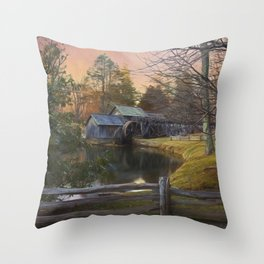 Winter Morning At Mabry Mill Throw Pillow