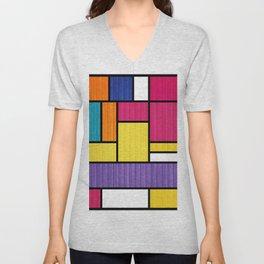 Mondrian Bauhaus Pattern #11 Unisex V-Neck