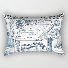 Vintage Illustrative Map of Kentucky & Tennessee (1912) Rectangular Pillow