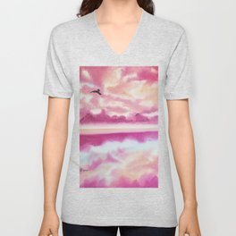 Freedom 2, Pink Sunset Beach, Pink Sky, Clouds, Skyscape, Waterscape Unisex V-Neck