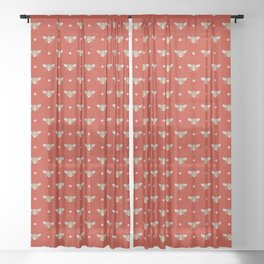Bumblebee Stamp on Red Sheer Curtain