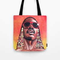 stevie nicks Tote Bags featuring Stevie Wonder by Laura-A
