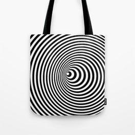 Vortex, optical illusion black and white Tote Bag