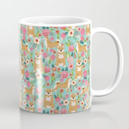 Shiba inu mint florals cute flowers dog breed must have gifts for pet dog lover unique dog breed art Coffee Mug