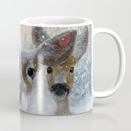 Deer in the Snowy Woods Coffee Mug
