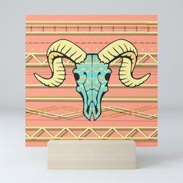 Ram Skull Pattern Mini Art Print