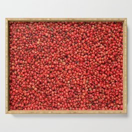 Pink peppercorns background Serving Tray