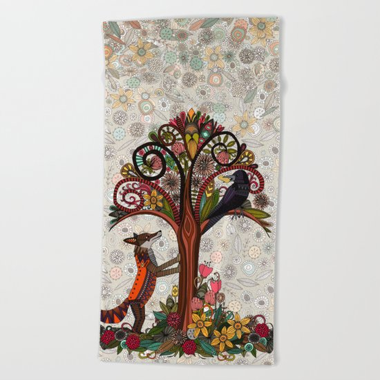 fox and crow Beach Towel