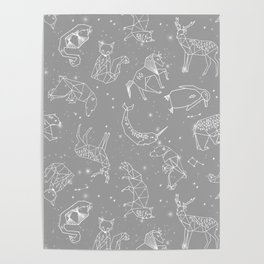 Origami Constellations - geometric animals constellations design - grey Poster