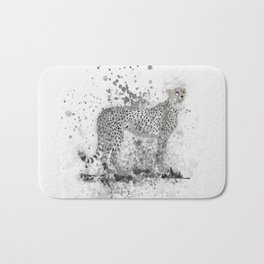Cheetah in Black and White Bath Mat