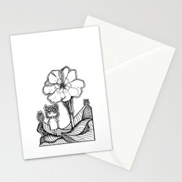 Flower & Owl Kid Stationery Cards