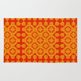 Chinese grid pattern in traditional colors Rug