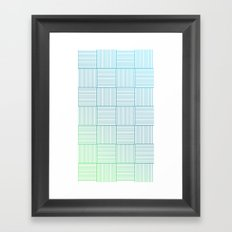 Woven Squares in Blue and Green Framed Art Print