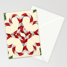 CREAMY YELLOW  RED-WHITE PINK  CHRISTMAS CANDY CANES Stationery Cards