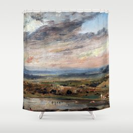John Constable Hampstead Heath, with Pond and Bathers Shower Curtain