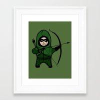 green arrow Framed Art Prints featuring Green Arrow by YiannisTees