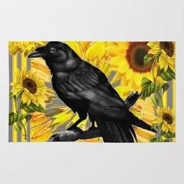 BLACK CROW/RAVEN & SUNFLOWERS FIELD Rug