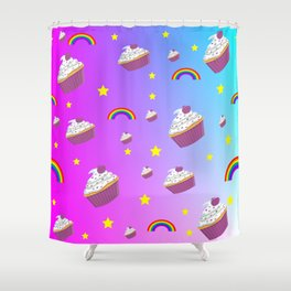 cupcakes and rainbows pattern Shower Curtain